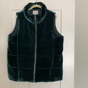 Green velvet vest from Ann Taylor Loft